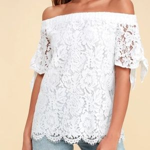 Lulu's Ivory Lace Off-The-Shoulder Top